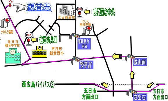 観音寺までの地図